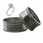 Taşlı Gümüş Çift Alyans Yüzük Tek Taş Hediyeli DN5194