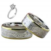Taşlı Gümüş Çift Alyans Yüzük Tek Taş Hediyeli DN5210