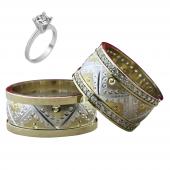 Taşlı Gümüş Çift Alyans Yüzük Tek Taş Hediyeli DN5237