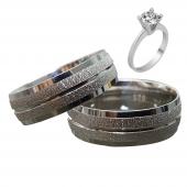 Taşsız Gümüş Çift Alyans Yüzük Tek Taş Hediyeli DN5085