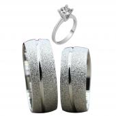 Taşsız Gümüş Çift Alyans Yüzük Tek Taş Hediyeli DN5120