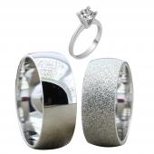 Taşsız Gümüş Çift Alyans Yüzük Tek Taş Hediyeli DN5123