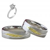 Taşsız Gümüş Çift Alyans Yüzük Tek Taş Hediyeli DN5217