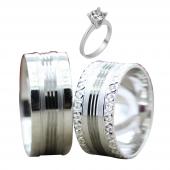 Taşsız Gümüş Çift Alyans Yüzük Tek Taş Hediyeli DN5308