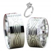 Taşsız Gümüş Çift Alyans Yüzük Tek Taş Hediyeli DN5315