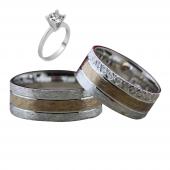 Taşsız Gümüş Çift Alyans Yüzük Tek Taş Hediyeli DN5355