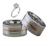 Taşsız Gümüş Çift Alyans Yüzük Tek Taş Hediyeli DN5357