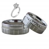 Taşsız Gümüş Çift Alyans Yüzük Tek Taş Hediyeli DN5373