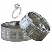 Taşsız Gümüş Çift Alyans Yüzük Tek Taş Hediyeli DN5375