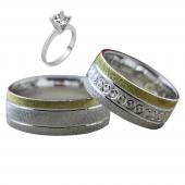 Taşsız Gümüş Çift Alyans Yüzük Tek Taş Hediyeli DN5390