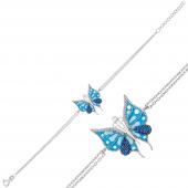 Mineli Gümüş Kelebek Bileklik DN1014A