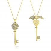 İsim Yazılan Gümüş Kalpli Anahtar Kolye DN48B