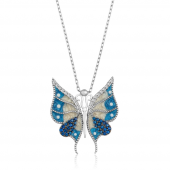 Mavi Mineli Gümüş Kelebek Kolye DN18A