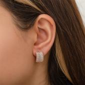 Rose Beyaz Taşlı Gümüş Kadın Küpe DN2013A-2