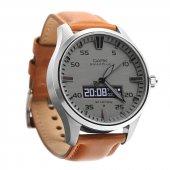 Dark Smart Time Gri Kadran Kahve Deri Klasik Kayışlı Klasik Akıllı Saat (Dk Ac Swt4402)