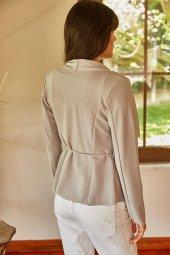Kadın Gri Şal Yaka Kısa Ceket-5