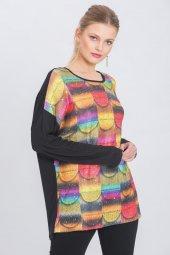 Kadın Siyah Geometrik Baskılı Pullu Triko Bluz-2