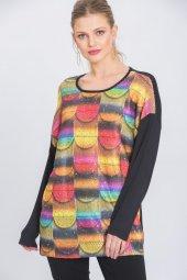 Kadın Siyah Geometrik Baskılı Pullu Triko Bluz-3