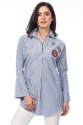 Kadın Mavi Arma Detaylı Çizgili Gömlek