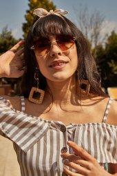 Kadın Kahverengi Köşeli Çerçevesiz Güneş Gözlüğü