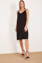 Kadın Siyah Kalın Askılı Elbise