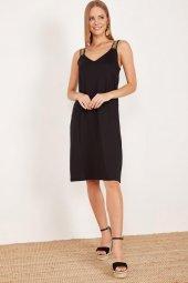 Kadın Siyah Kalın Askılı Elbise-2