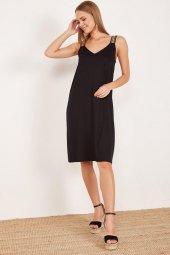 Kadın Siyah Kalın Askılı Elbise-3