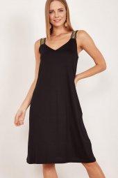 Kadın Siyah Kalın Askılı Elbise-4