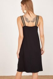 Kadın Siyah Kalın Askılı Elbise-6