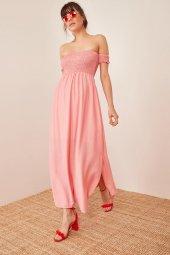 Kadın Somon Düşük Omuzlu Lastikli Elbise