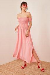 Kadın Somon Düşük Omuzlu Lastikli Elbise-2