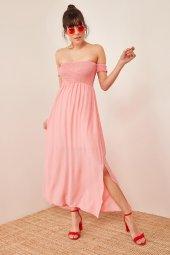 Kadın Somon Düşük Omuzlu Lastikli Elbise-3