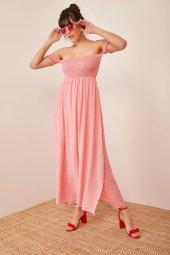 Kadın Somon Düşük Omuzlu Lastikli Elbise-4