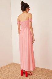 Kadın Somon Düşük Omuzlu Lastikli Elbise-5