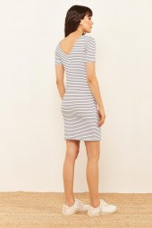 Kadın Beyaz Çizgili Kaşkorse Elbise-4
