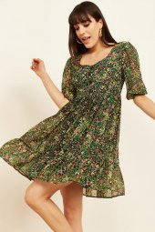 Kadın Yeşil Şifon Elbise
