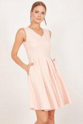 Kadın Somon Pileli Kloş Elbise