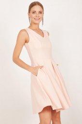 Kadın Somon Pileli Kloş Elbise-2