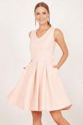 Kadın Somon Pileli Kloş Elbise-3