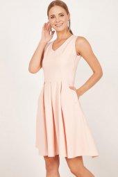 Kadın Somon Pileli Kloş Elbise-4