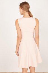 Kadın Somon Pileli Kloş Elbise-6