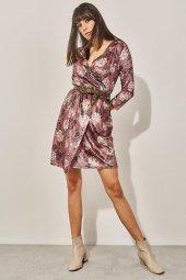 Kadın Pudra Kuvaze Desenli Kadife Elbise-2