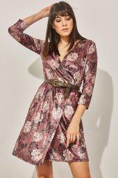 Kadın Pudra Kuvaze Desenli Kadife Elbise-3
