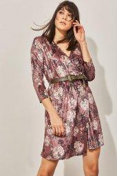 Kadın Pudra Kuvaze Desenli Kadife Elbise-5