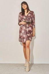 Kadın Pudra Kuvaze Desenli Kadife Elbise-7