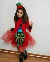 Tavuskuşu Motifli Kız Çocuk Elbise