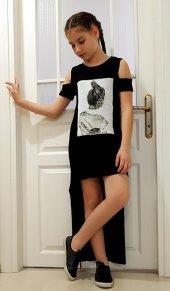 Kız Çocuk Siyah Önü Baskılı Elbise