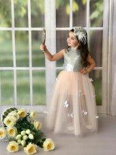 Pudra Gümüş Payetli Kız Çocuk Abiye