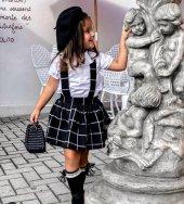Siyah Ekoseli Kız Çocuk Salopet