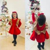 Kırmızı Etek Ucu Kabartma Kız Çocuk Elbise